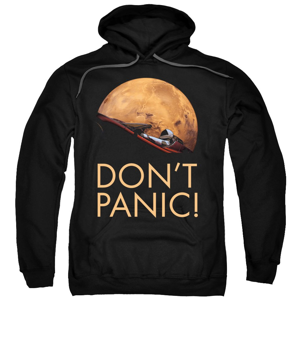 Dont Panic Sweatshirt featuring the photograph Starman Don't Panic In Orbit Around Mars by Filip Hellman