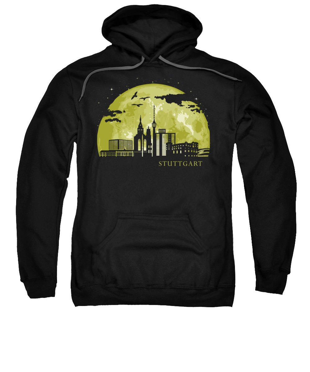 Stuttgart Sweatshirt featuring the digital art Stuttgart Moon Light Night Stars Skyline by Filip Hellman
