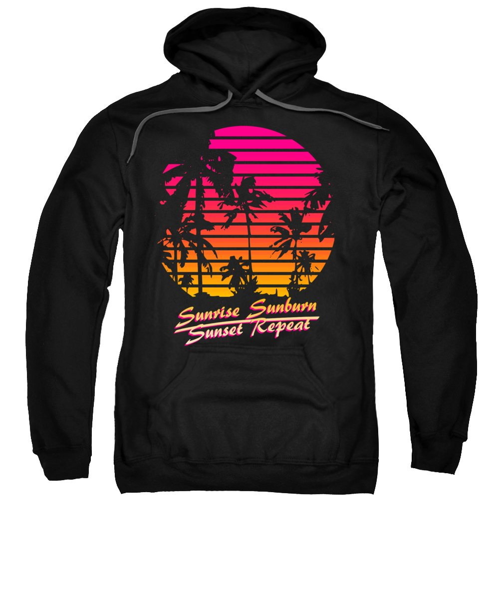 Sunset Sweatshirt featuring the digital art Sunrise Sunburn Sunset Repeat by Filip Schpindel