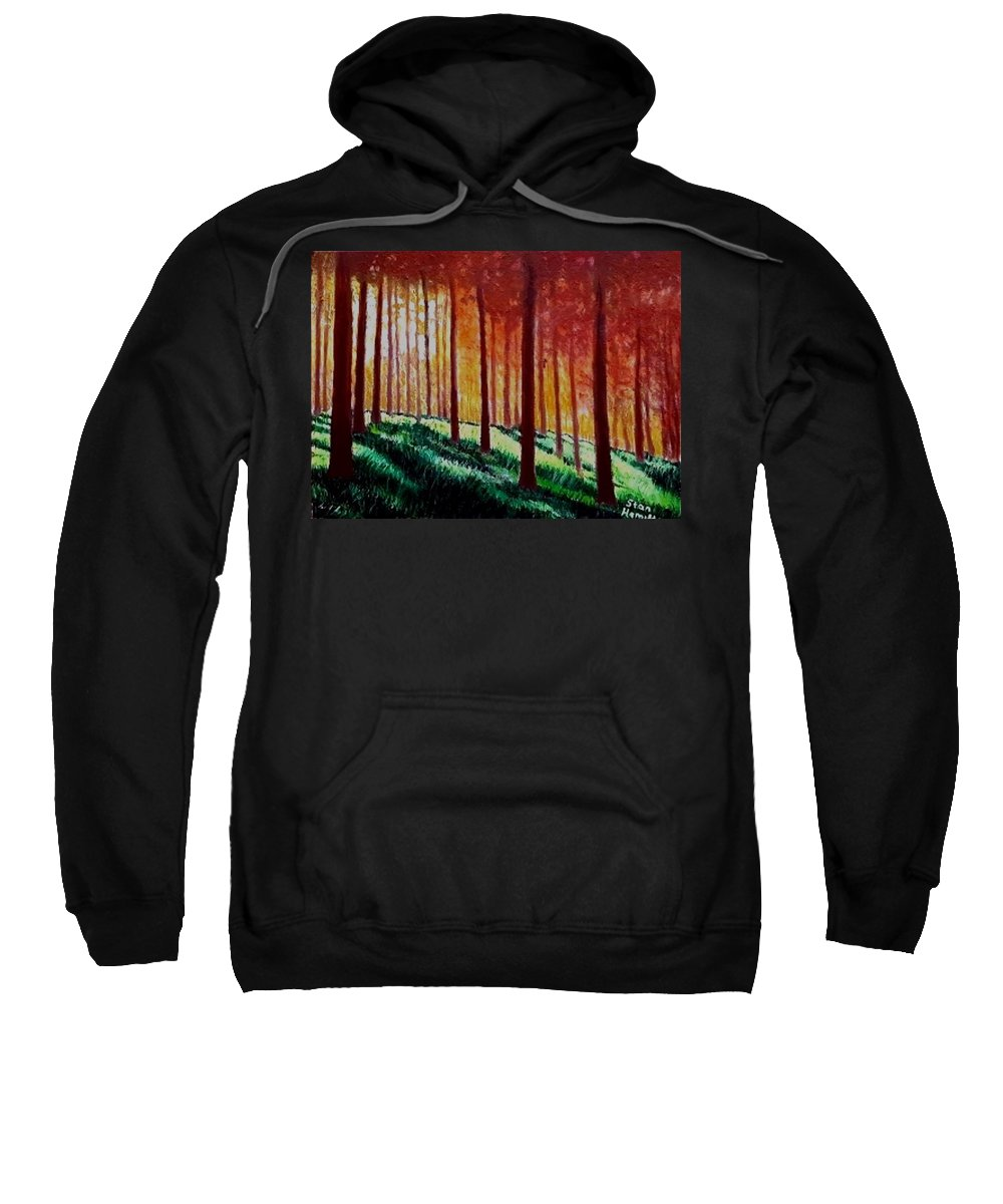 Trees Sweatshirt featuring the painting Sunset Trees by Stan Hamilton