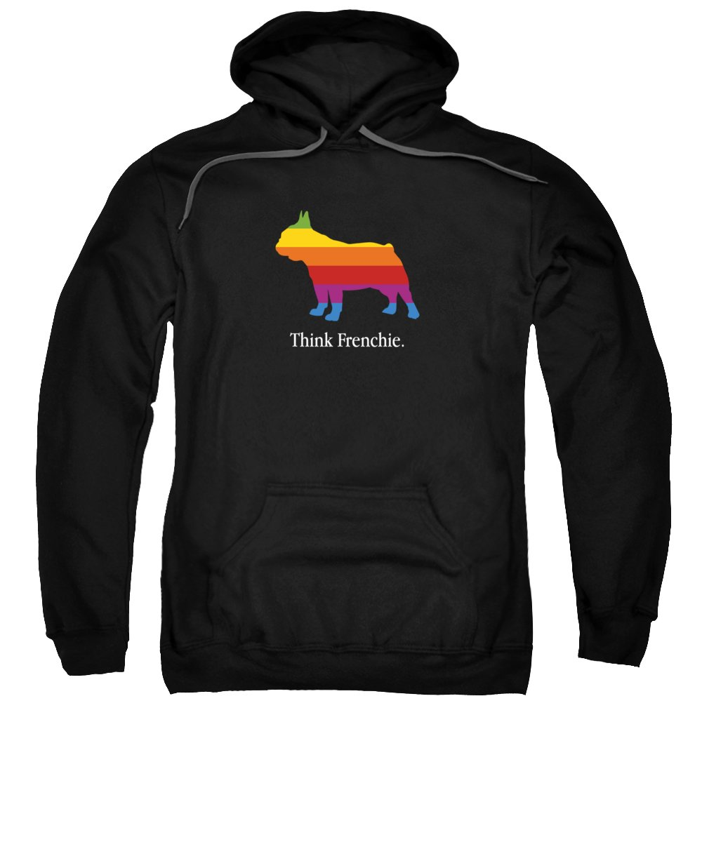 Transgender Sweatshirt featuring the digital art Think Frenchie French Bulldog Lgbt Rainbow Flag Gay Pride by Passion Loft