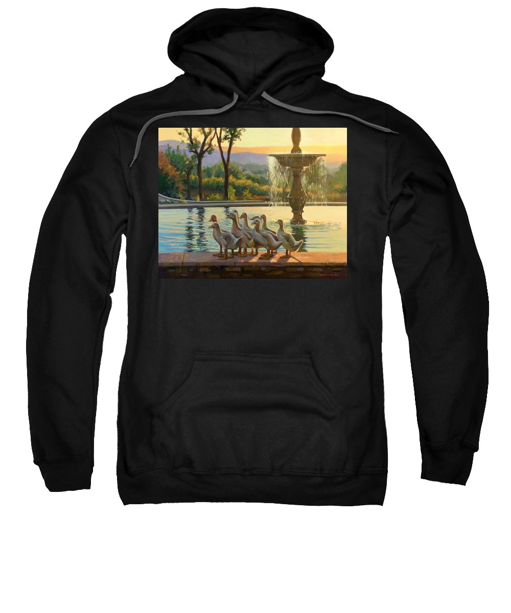 Cortona Sweatshirt featuring the painting Tuscan Ducklings by Dianne Panarelli Miller