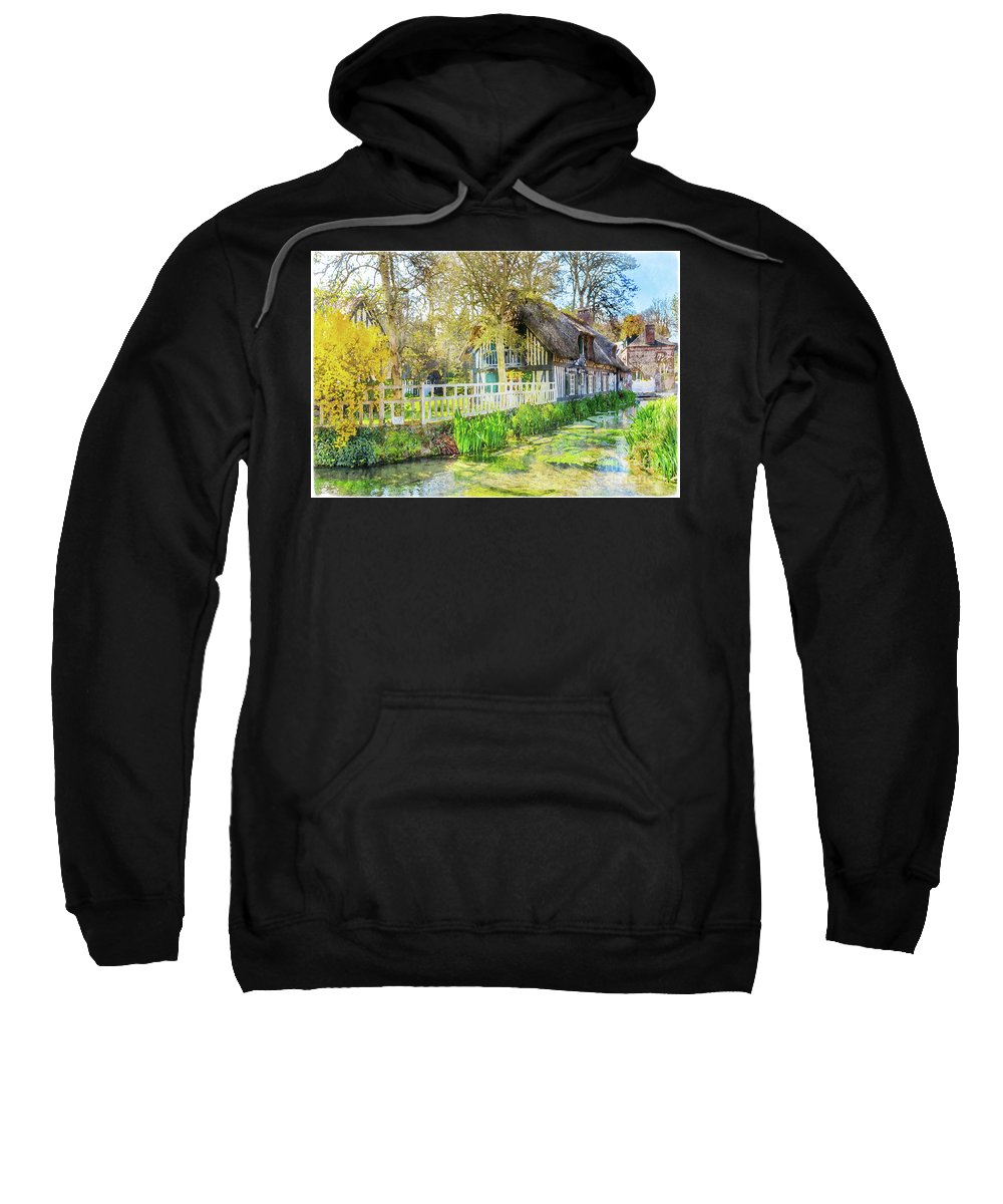 Normandy Sweatshirt featuring the painting Veules Les Roses by Delphimages Photo Creations