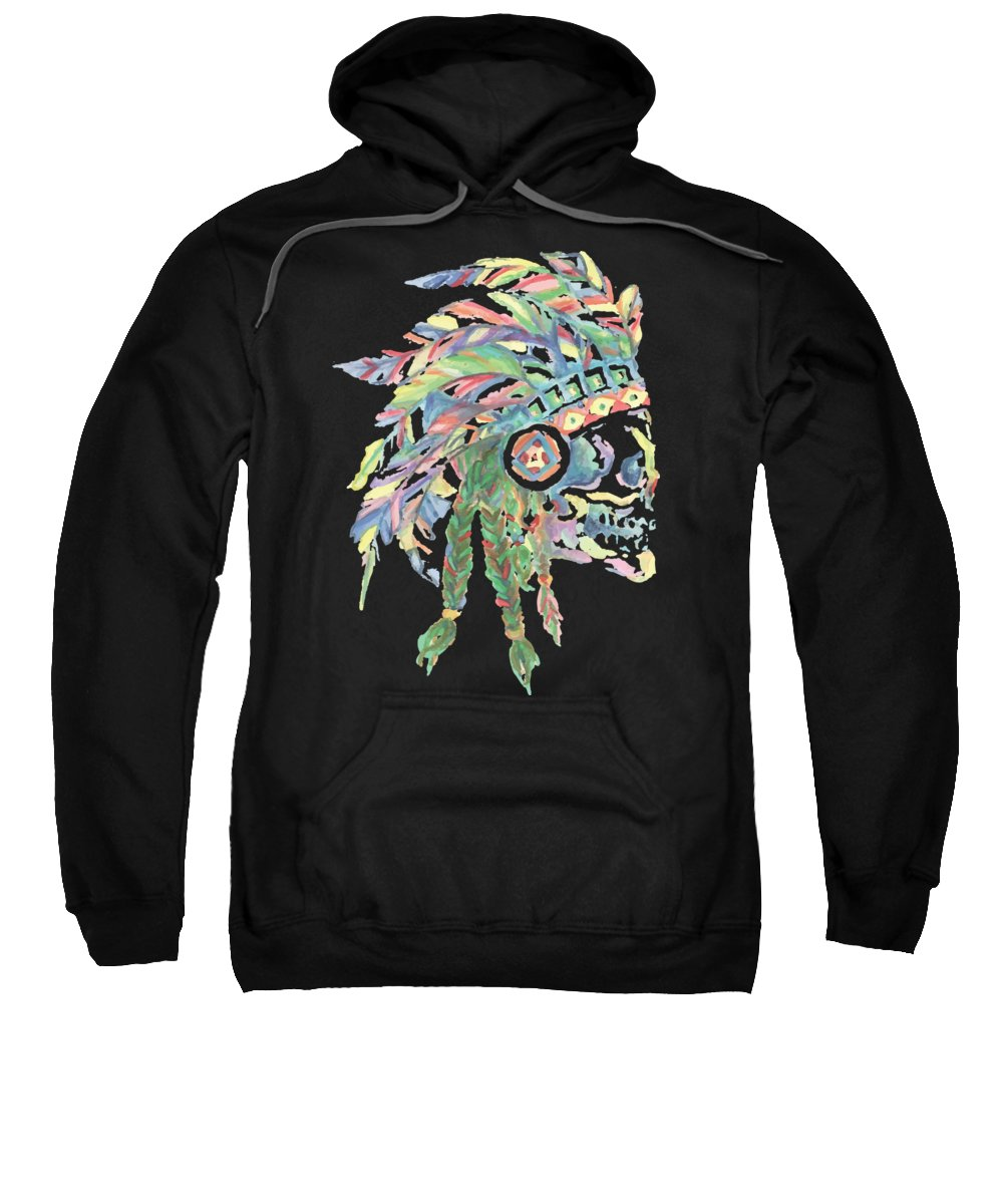 Skull Sweatshirt featuring the digital art Watercolor Skull With Native Indian Headdress by Passion Loft