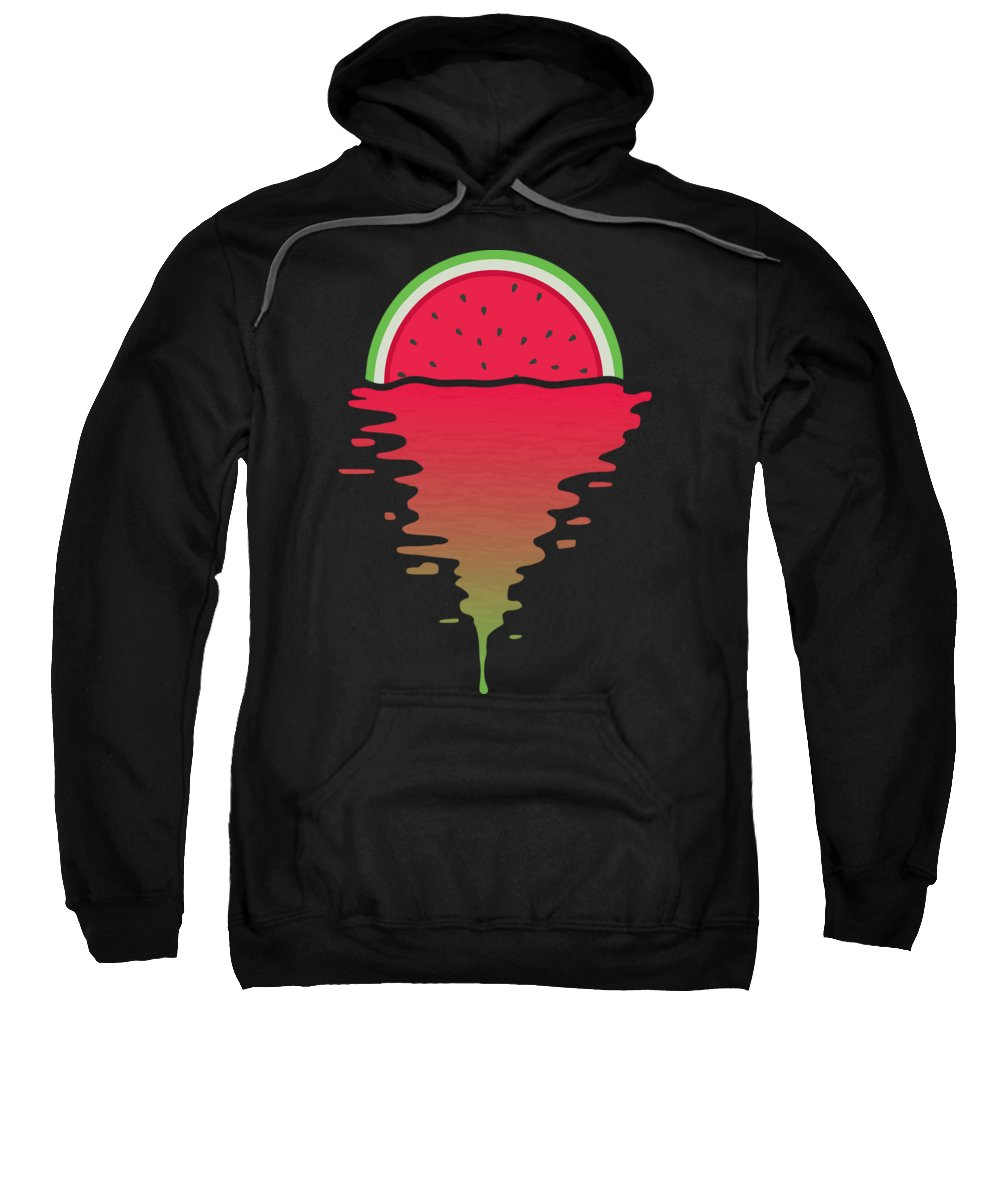 Watermelon Sweatshirt featuring the digital art Watermelon Sunset by Filip Schpindel