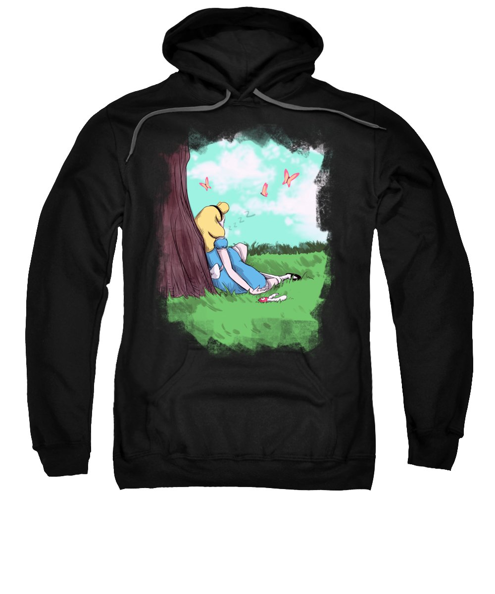 Vibrator Sweatshirt featuring the drawing White Rabbit by Ludwig Van Bacon