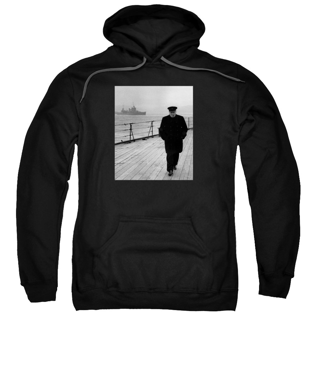Winston Churchill Sweatshirt featuring the photograph Winston Churchill At Sea by War Is Hell Store