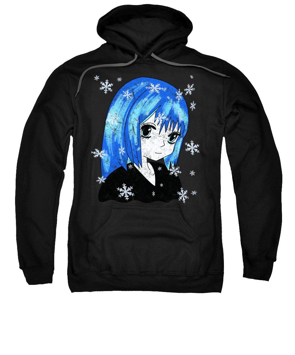 Anime Accessories Sweatshirt featuring the digital art Winter Anime Girl by Kaylin Watchorn
