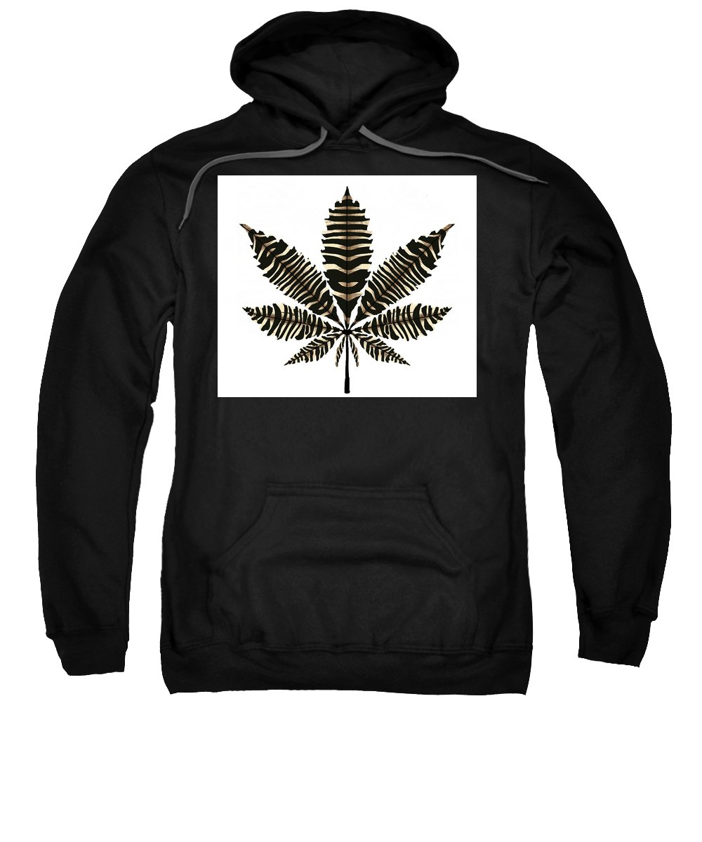 Marijuana Sweatshirt featuring the drawing Zebra Pattern Marijuana Leaf 2 by Joan Stratton