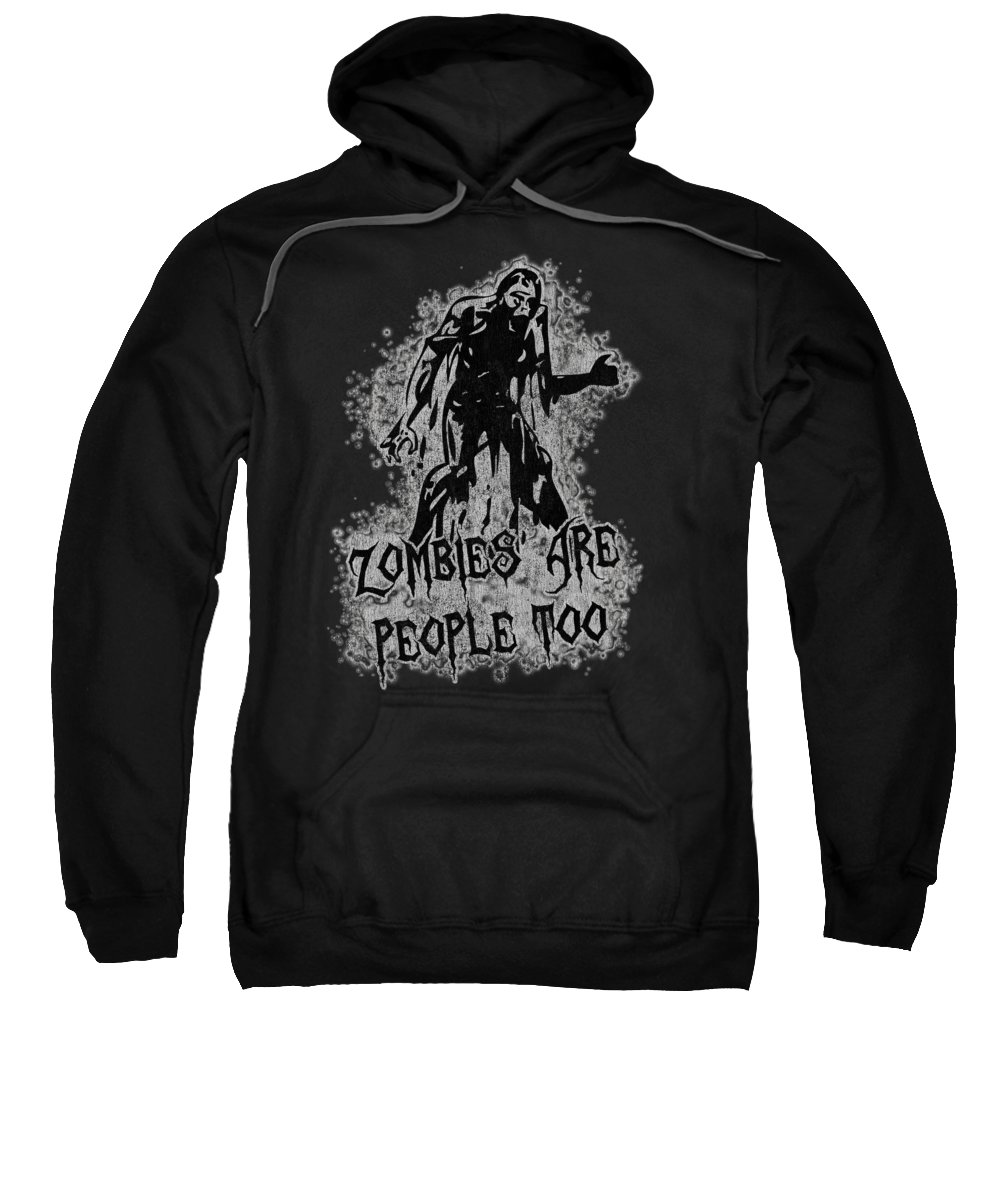 Cool Sweatshirt featuring the digital art Zombies Are People Too Halloween Vintage by Flippin Sweet Gear