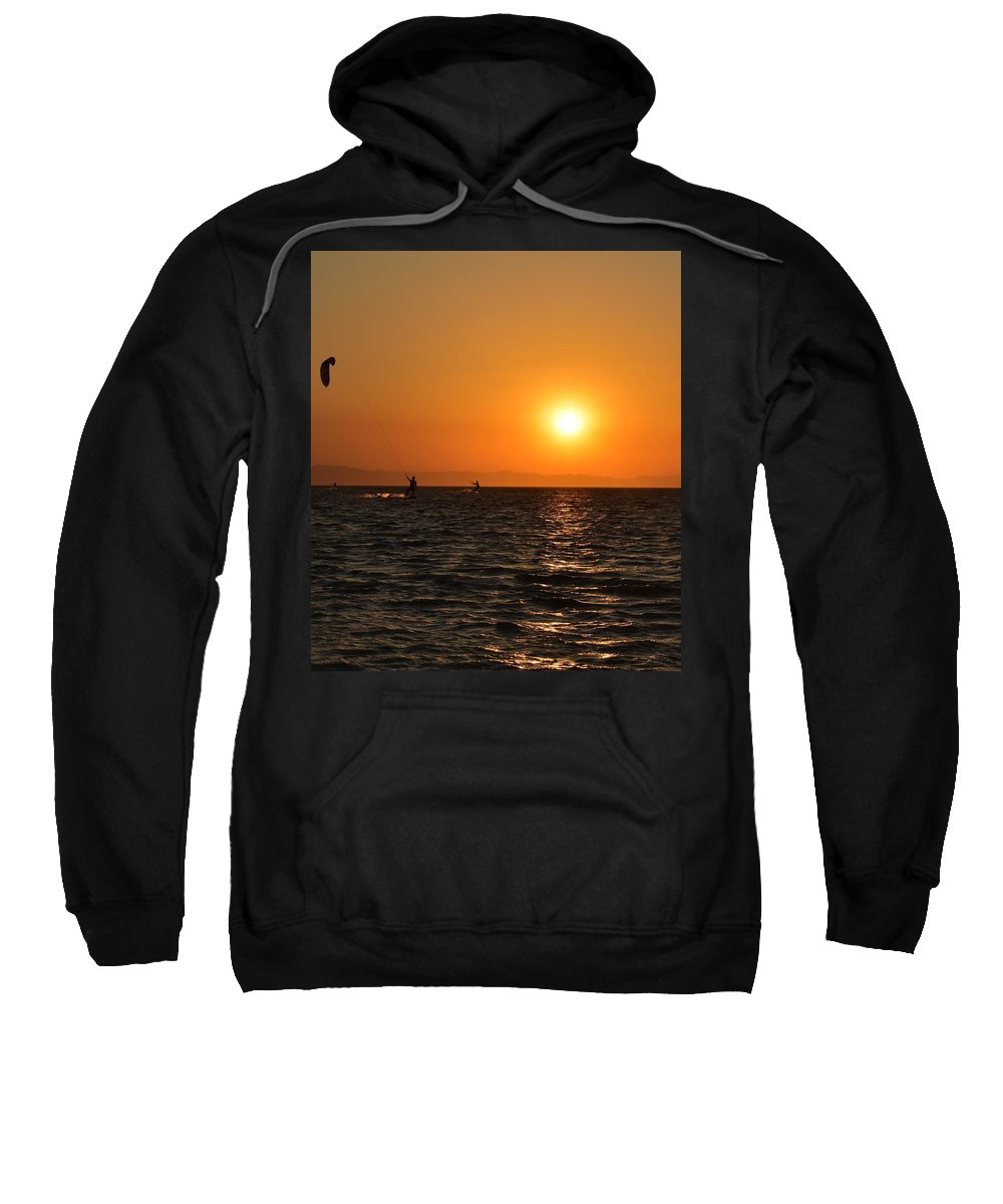 Kitesurfing Sweatshirt featuring the photograph Red sea sunset by Luca Lautenschlaeger