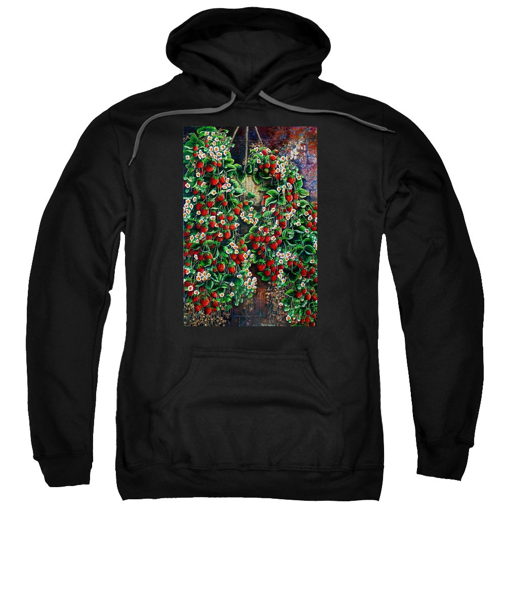 Fruit Painting Strawberry Painting Red Floral Painting Hanging Strawberry Basket Painting Botanical Painting Fruit Painting Sweatshirt featuring the painting A Berry Sweet Basket by Karin Dawn Kelshall- Best