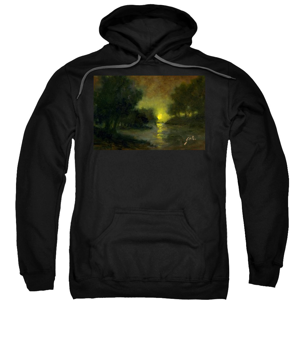 Miniaturesoil Paintings Sweatshirt featuring the painting A Dusky Evening by Jim Gola
