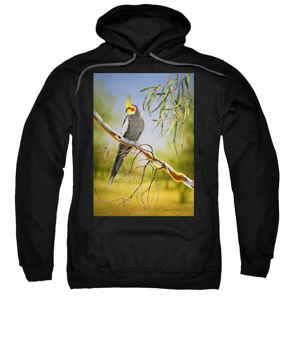 Bird Sweatshirt featuring the painting A Friendly Face - Cockatiel by Frances McMahon