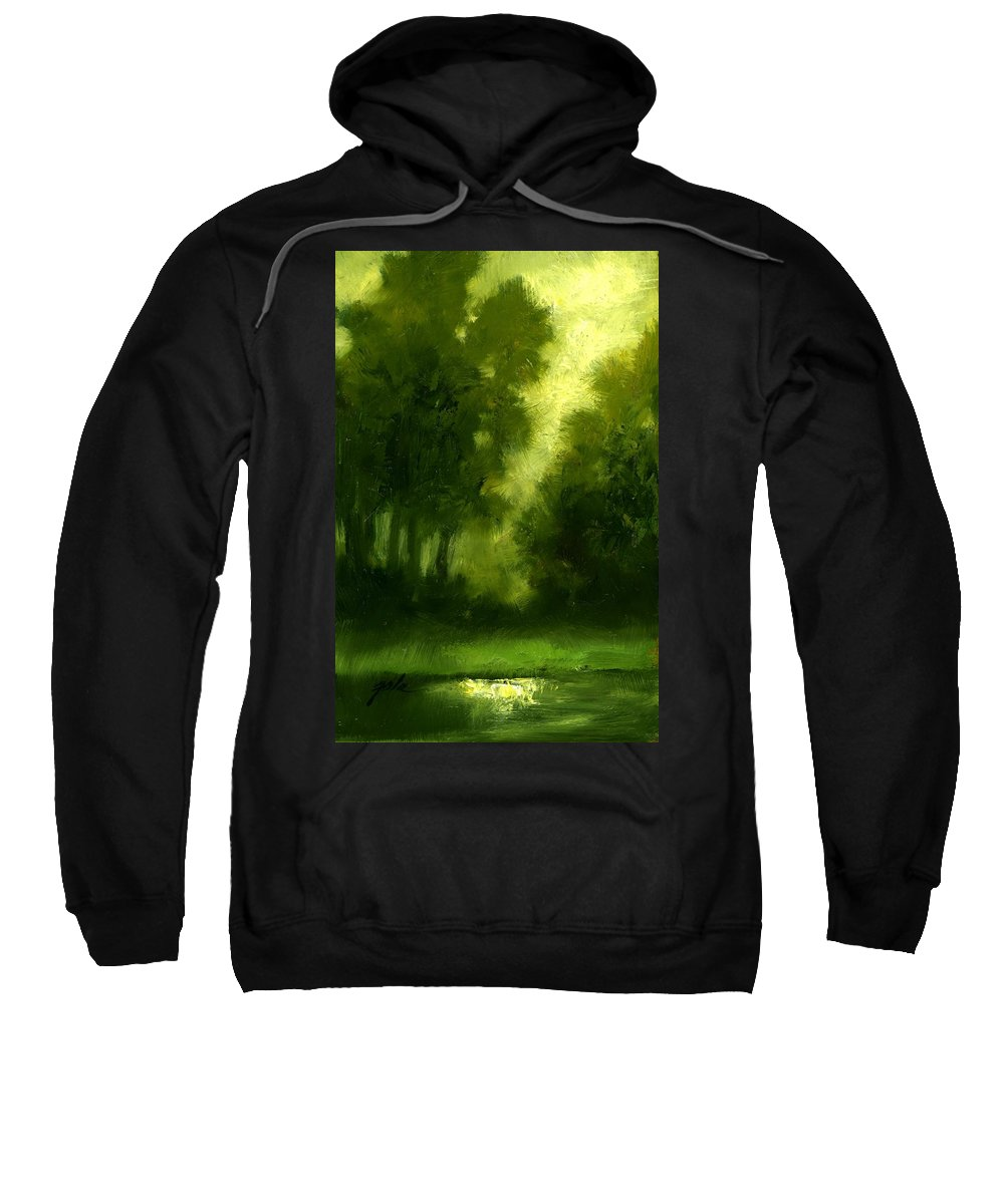 Miniature Oil Paintings Sweatshirt featuring the painting A Hazy Day by Jim Gola