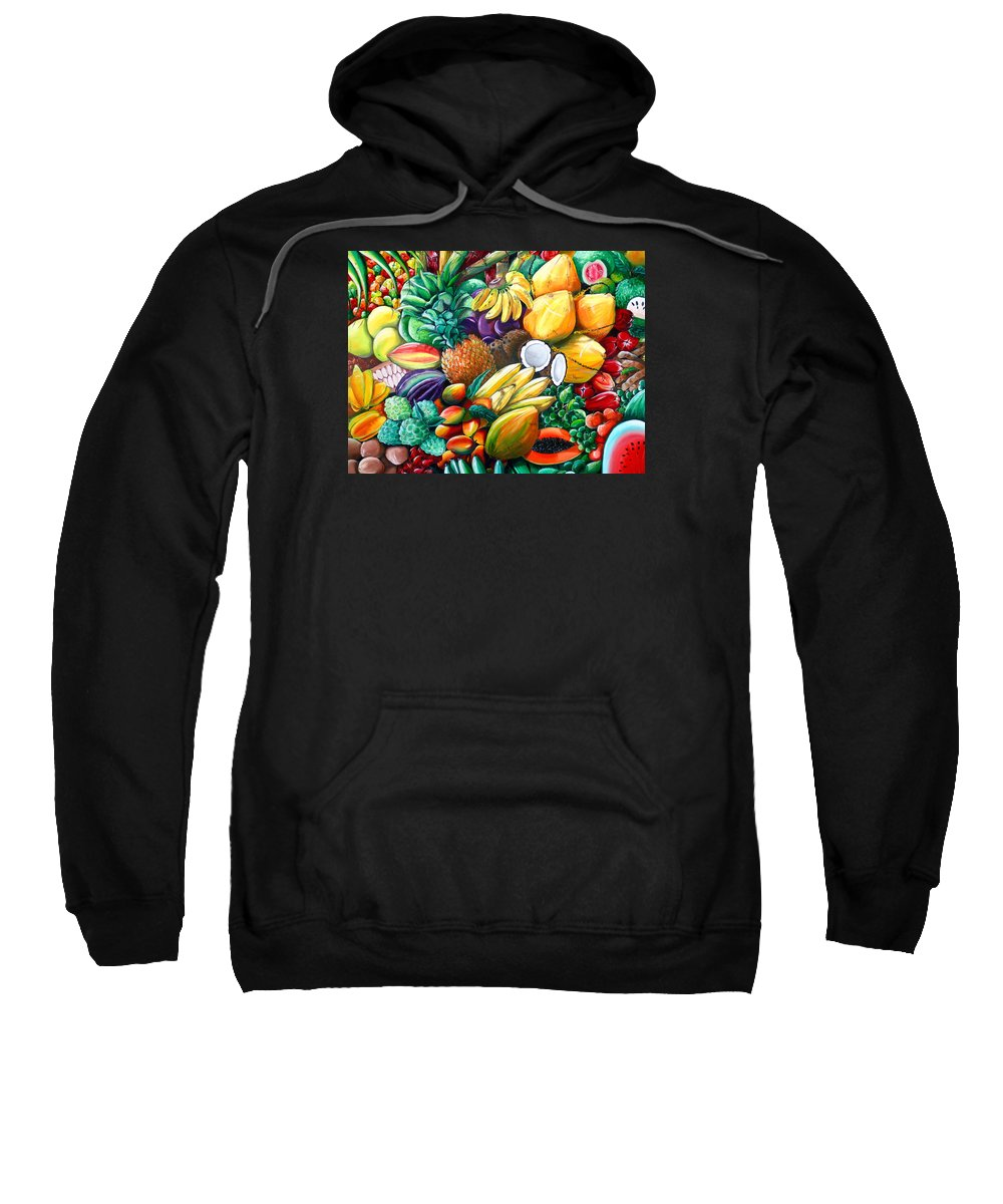 Caribbean Fruit Painting Tropical Fruit Painting Caribbean Pineapple Mangoes Bananas Coconut Watermelon Tropical Fruit Painting Sweatshirt featuring the painting A Taste Of The Islands by Karin Dawn Kelshall- Best