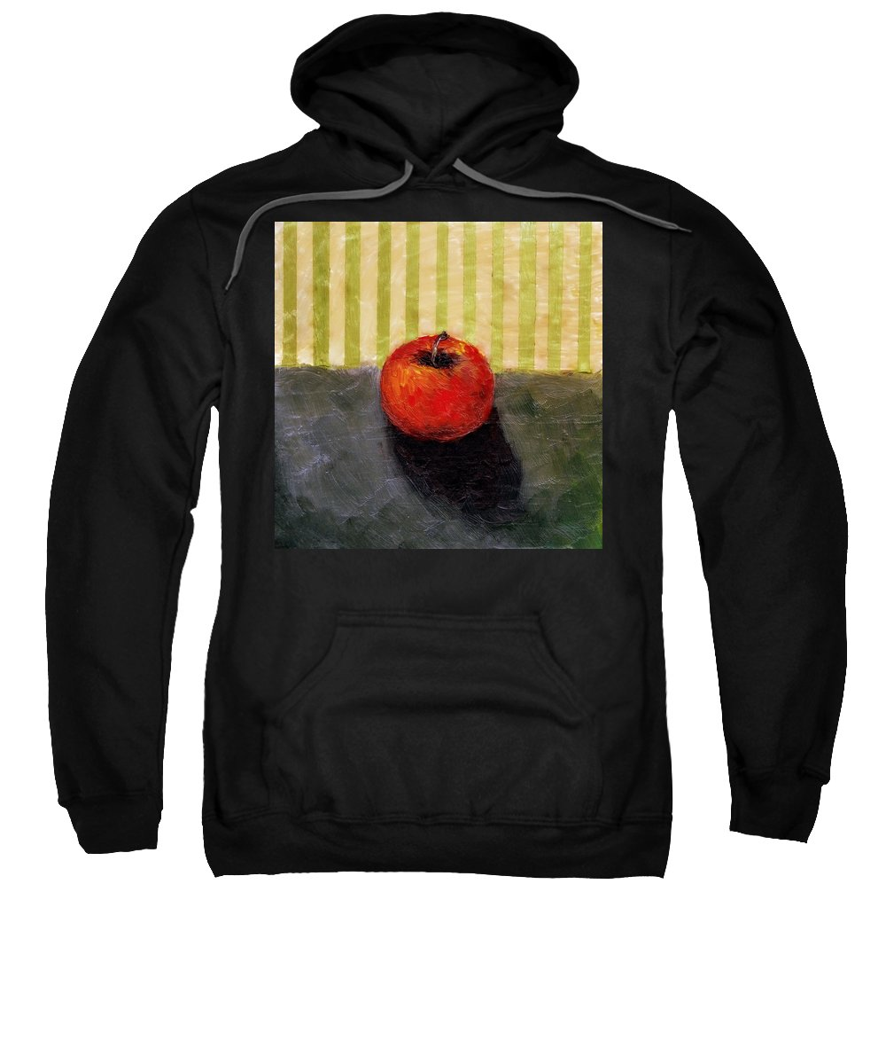 Apple Sweatshirt featuring the painting Apple Still Life with Grey and Olive by Michelle Calkins