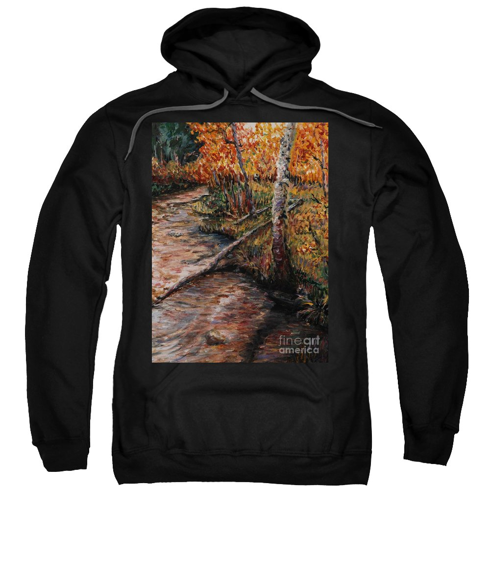 Landscape Sweatshirt featuring the painting Autumn Reflections by Nadine Rippelmeyer