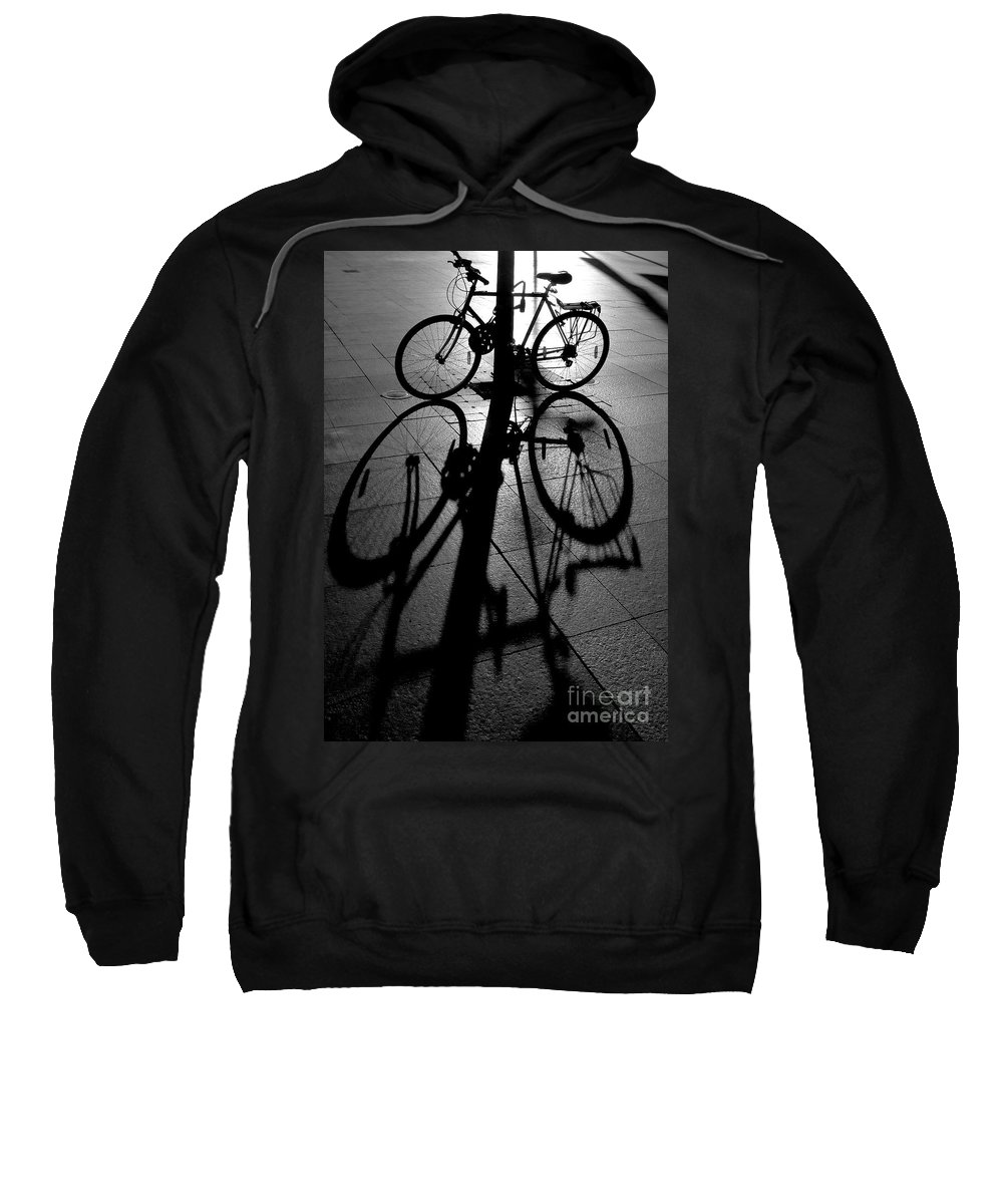 Bicycle Sweatshirt featuring the photograph Bicycle shadow by Sheila Smart Fine Art Photography