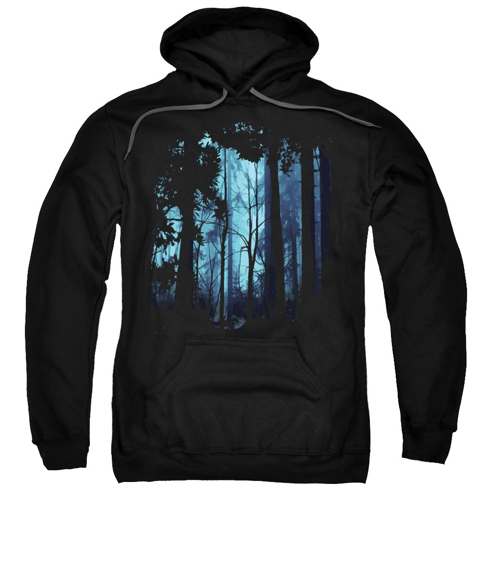 Nature Sweatshirt featuring the digital art Blue Nature Forest by Passion Loft
