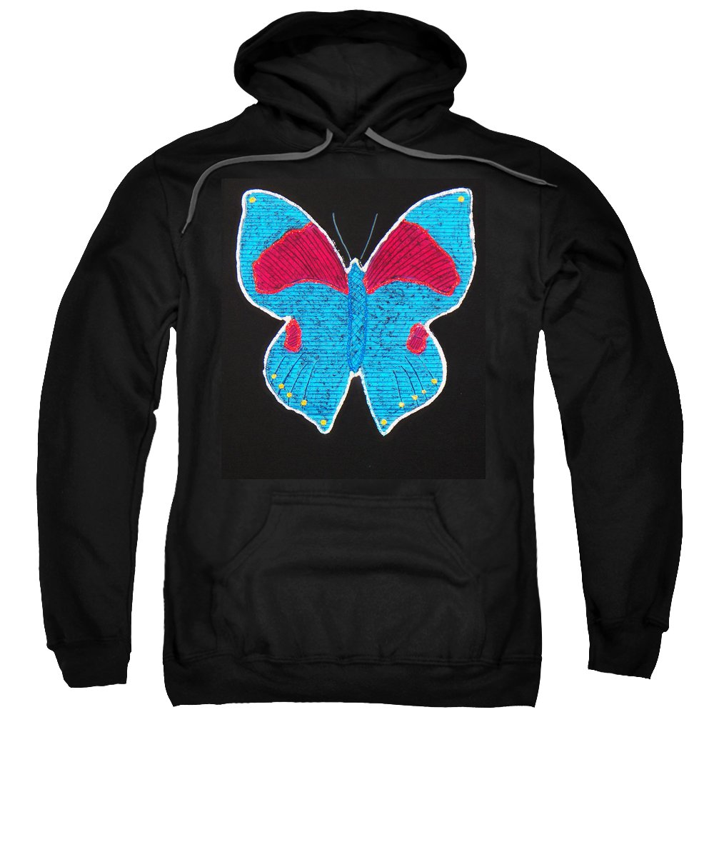 Drawing Sweatshirt featuring the mixed media Butterfly by Sergey Bezhinets