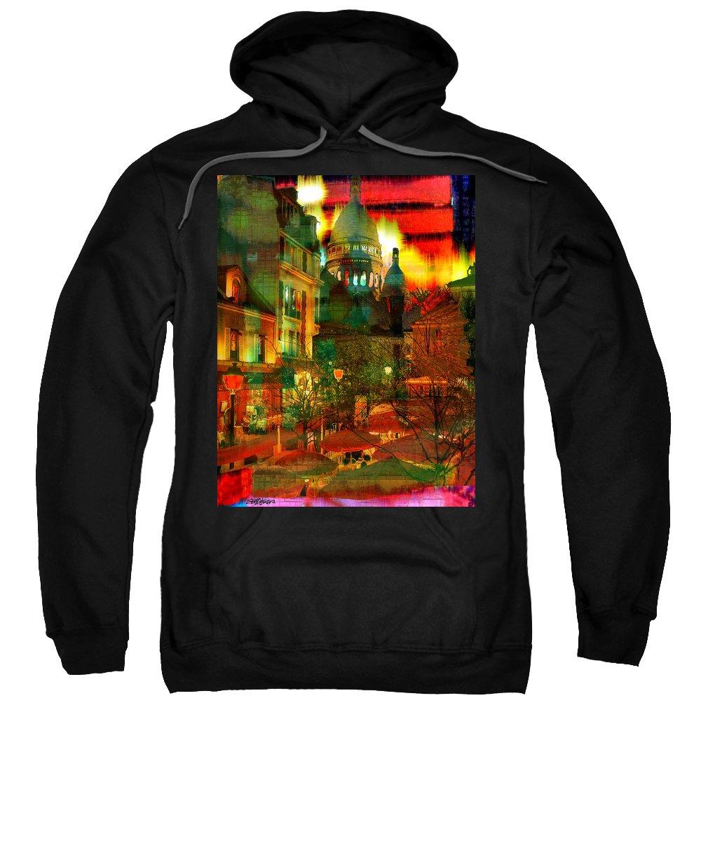 Paris Sweatshirt featuring the digital art Cafe Rue Morgue by Seth Weaver