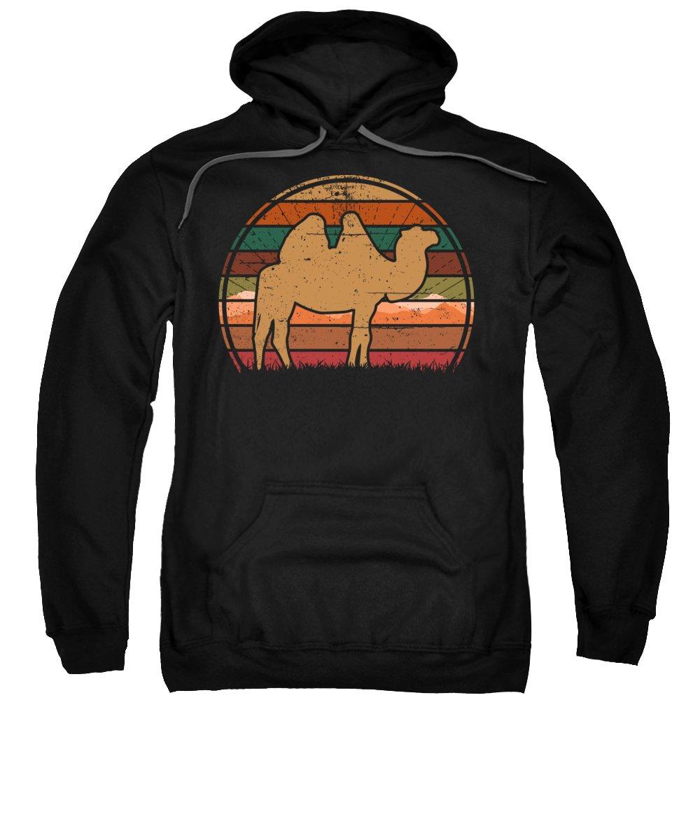 Camel Sweatshirt featuring the digital art Camel Sunset by Filip Schpindel
