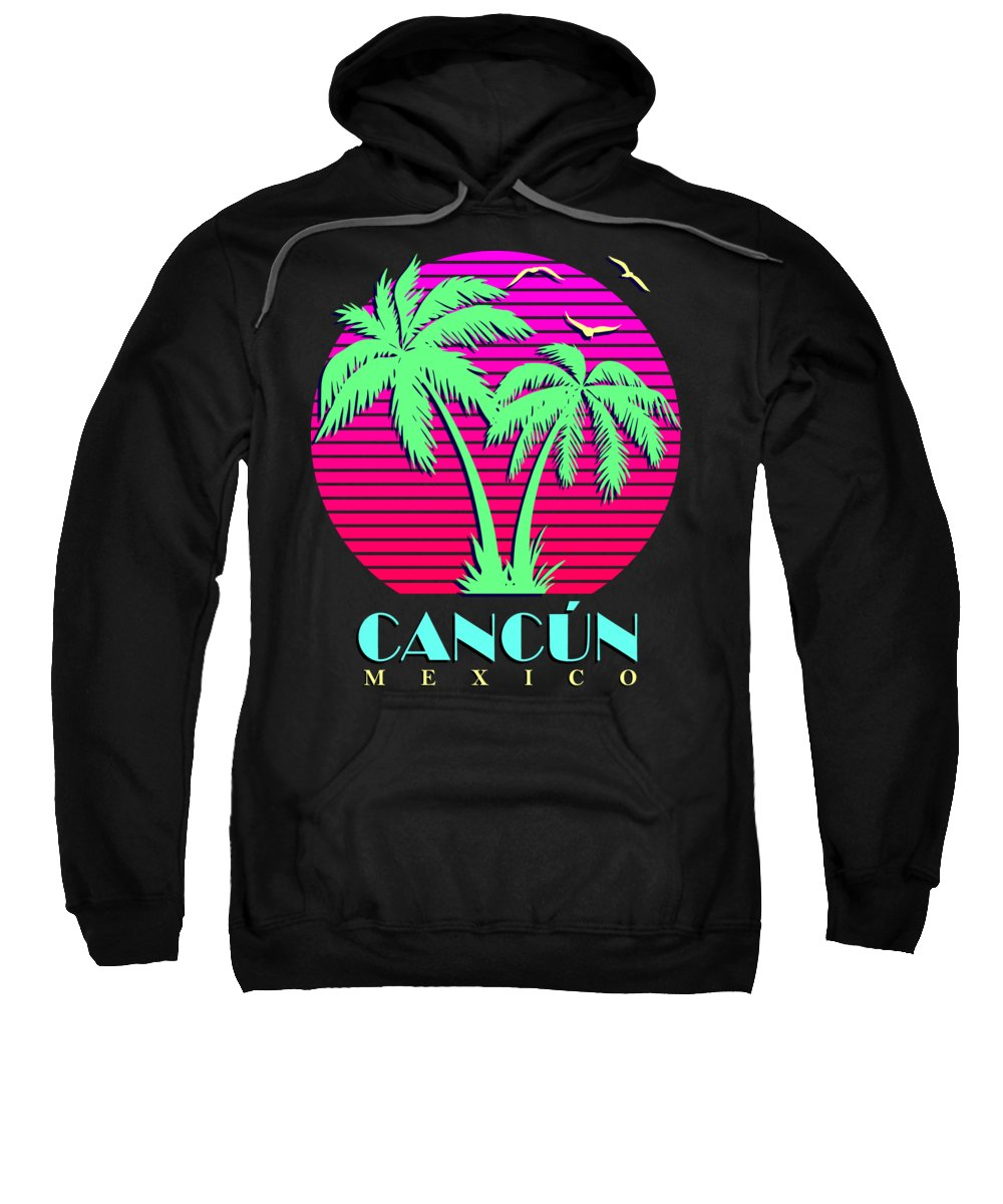 Classic Sweatshirt featuring the digital art Cancun Mexico Retro Palm Trees Sunset by Filip Schpindel