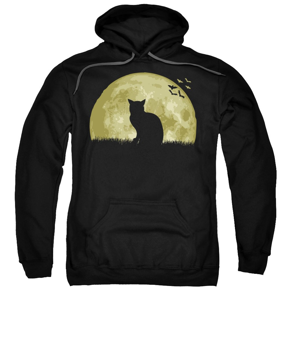 Cat Sweatshirt featuring the digital art Cat Full Moon by Filip Schpindel