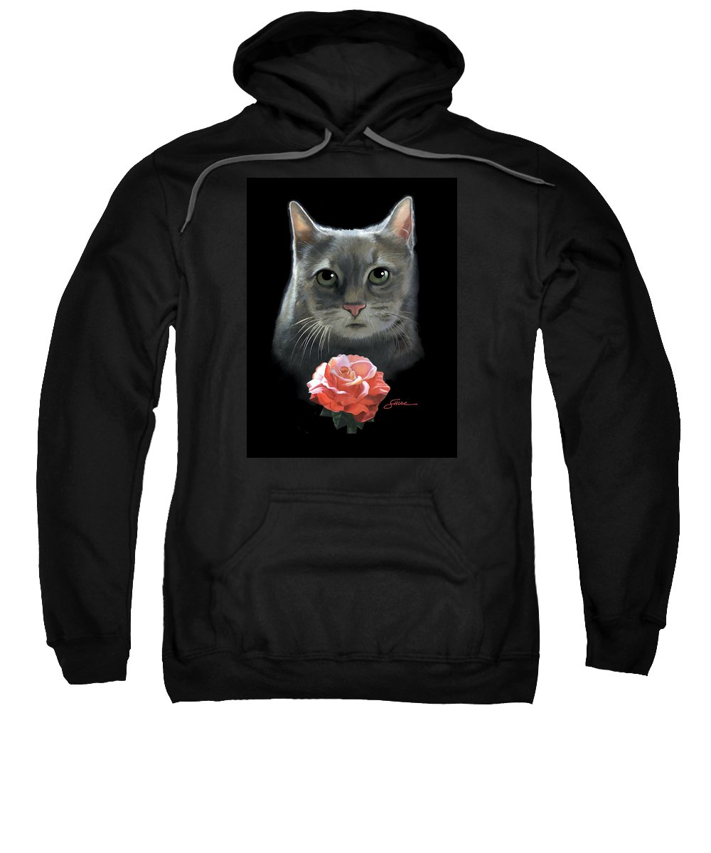 #cat Sweatshirt featuring the painting Cleo And The Rose by Harold Shull