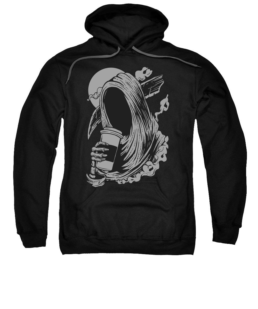 Death Sweatshirt featuring the digital art Death Likes Coffee by Long Shot