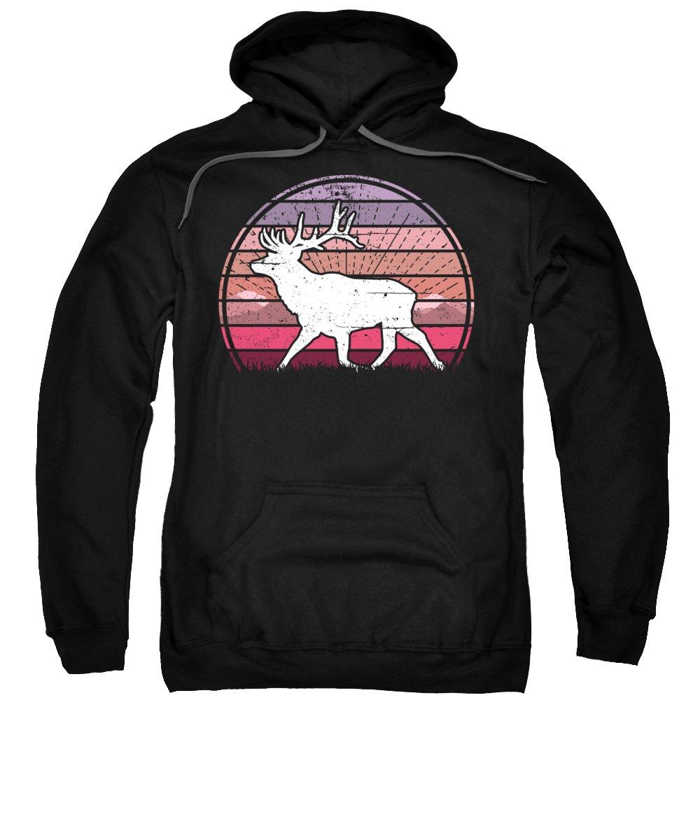 Deer Sweatshirt featuring the digital art Deer Sunset by Filip Schpindel