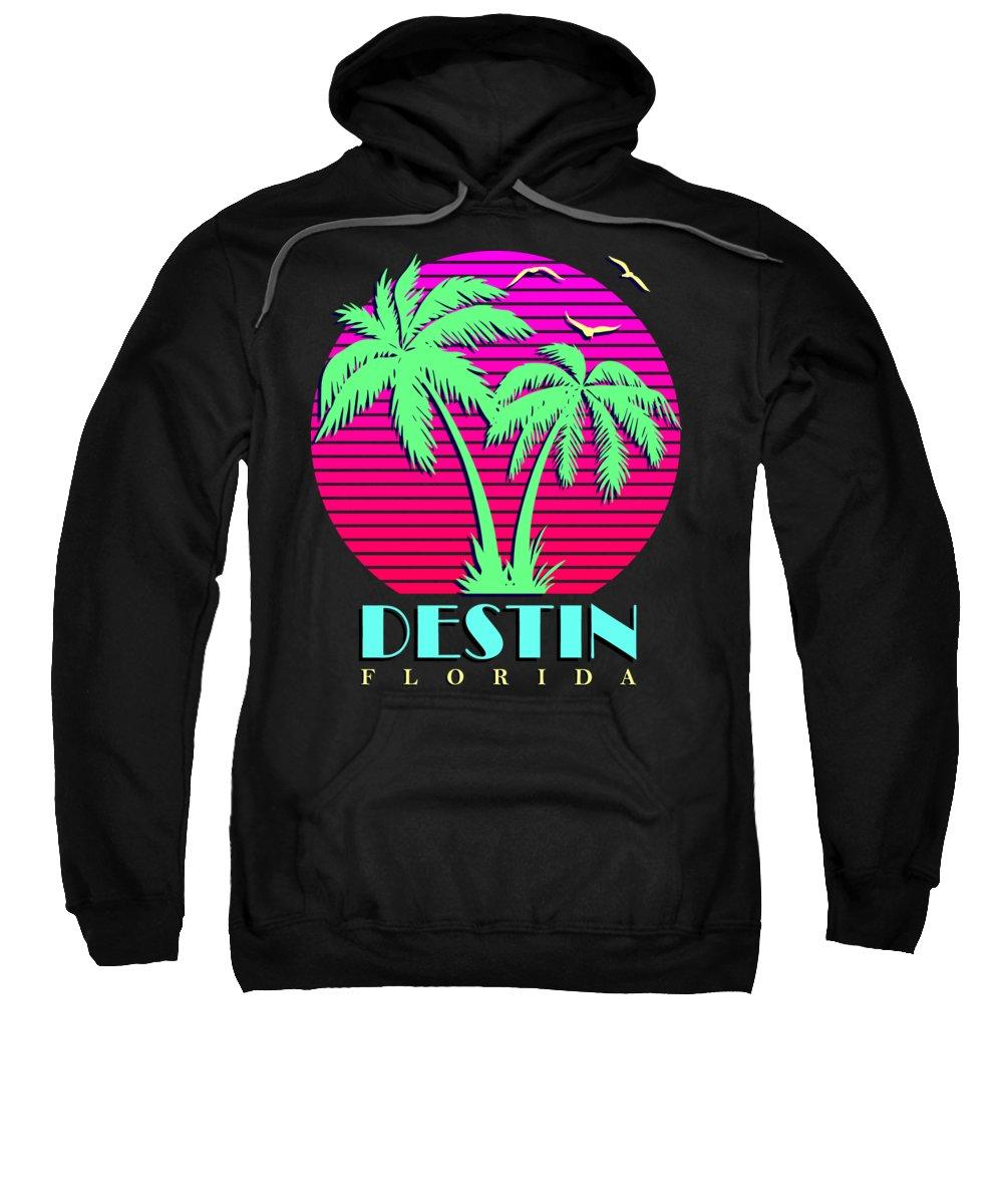 Classic Sweatshirt featuring the digital art Destin Florida California Retro Palm Trees Sunset by Filip Schpindel