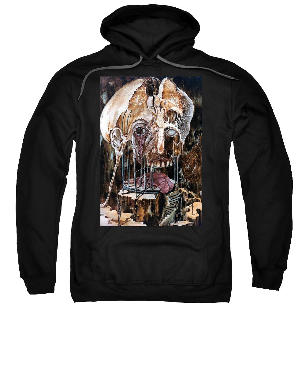 Surrealism Sweatshirt featuring the painting Deterioration Of Mind Over Matter by Otto Rapp