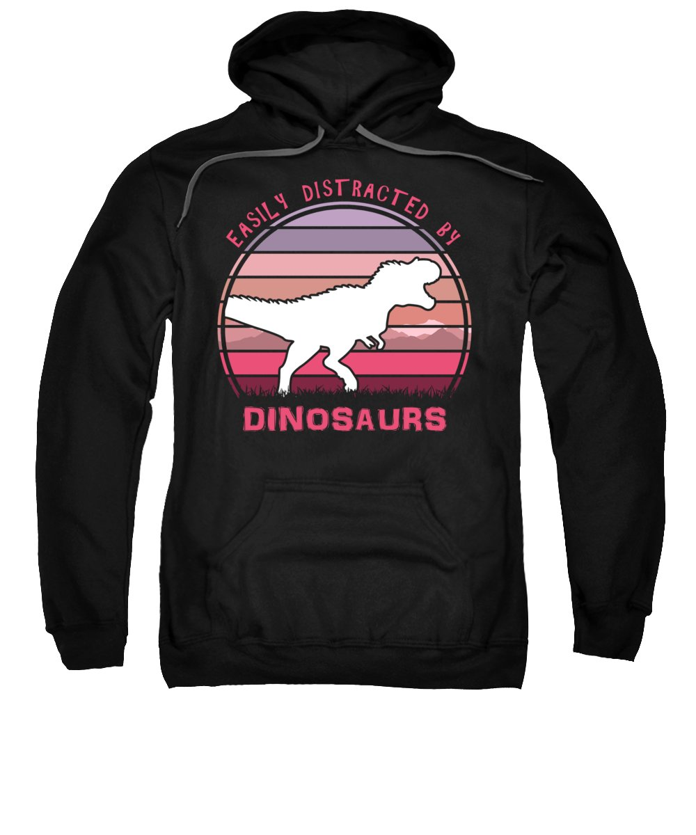 Easily Sweatshirt featuring the digital art Easily Distracted By Dinosaurs Pink Sunset by Filip Schpindel