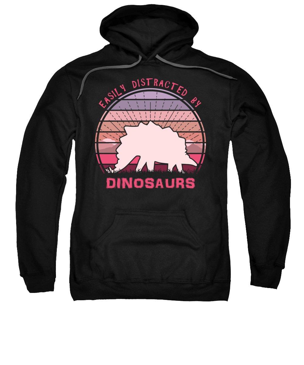 Easily Sweatshirt featuring the digital art Easily Distracted By Stegosaurus Dinosaurs by Filip Schpindel