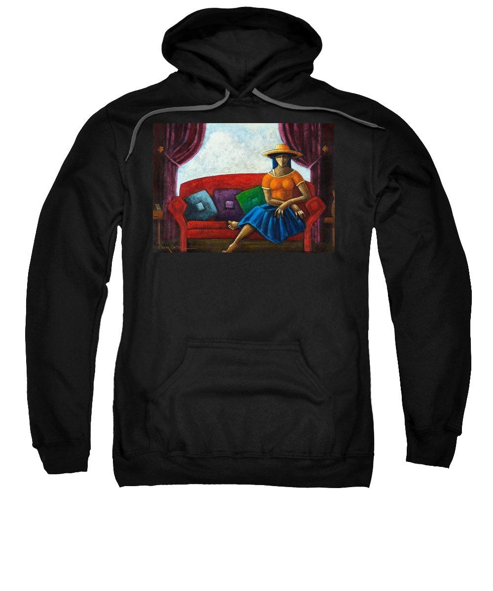 Puerto Rico Sweatshirt featuring the painting El Ultimo Romance Del Verano by Oscar Ortiz