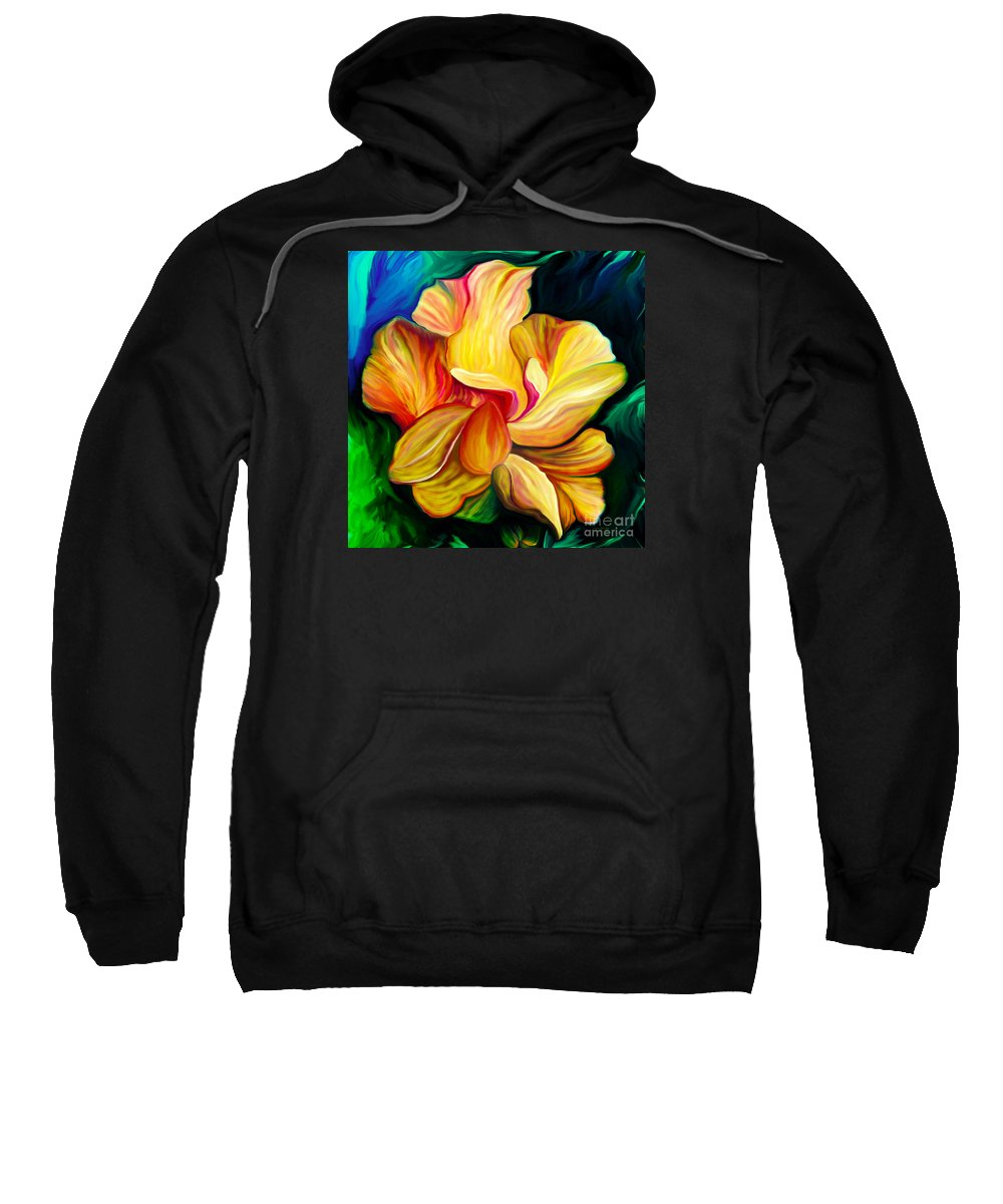 Hibiscus Painting Sweatshirt featuring the painting Emergence II by Patricia Griffin Brett