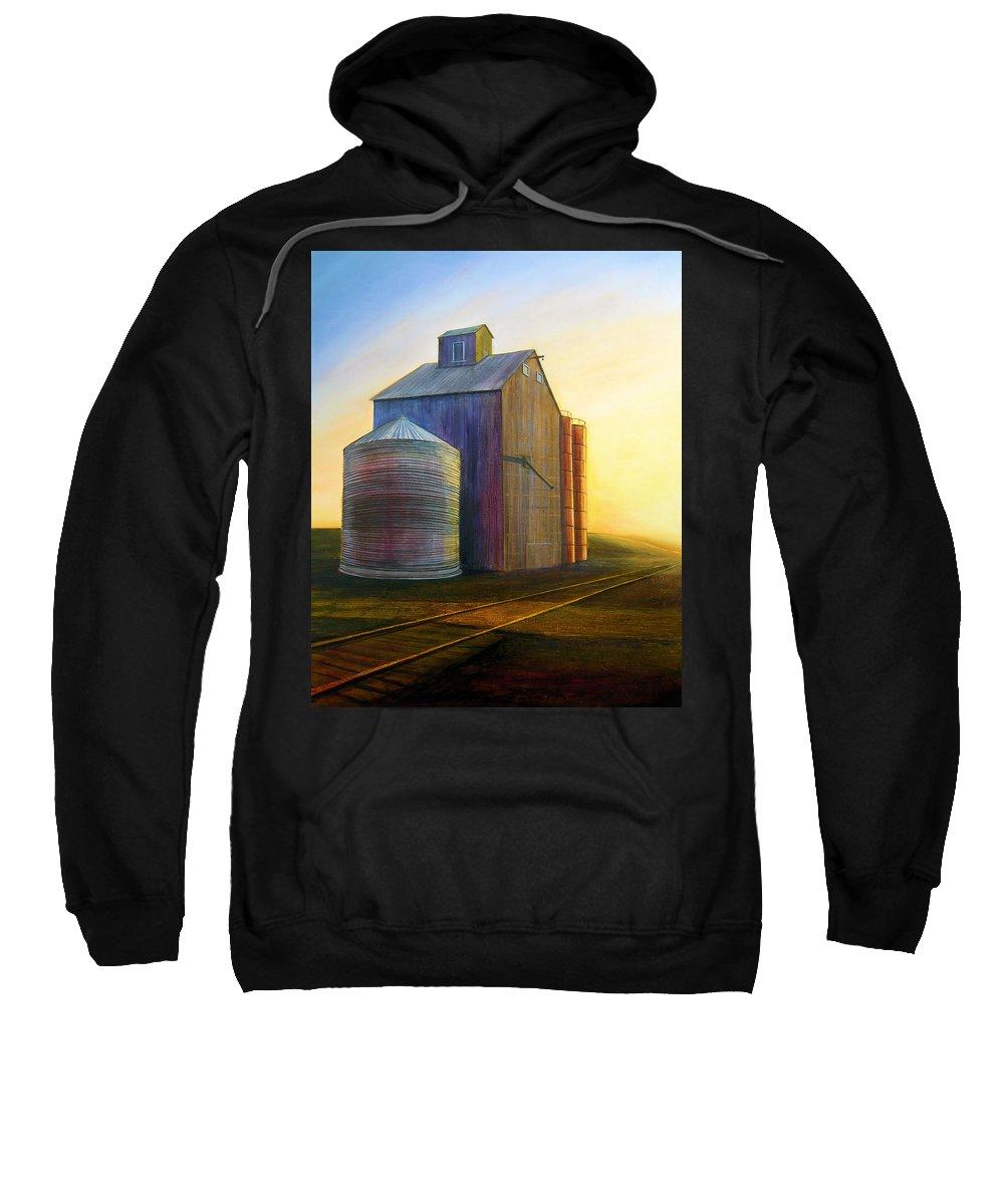 Silos Sweatshirt featuring the painting Estes Road Twilight by Leonard Heid