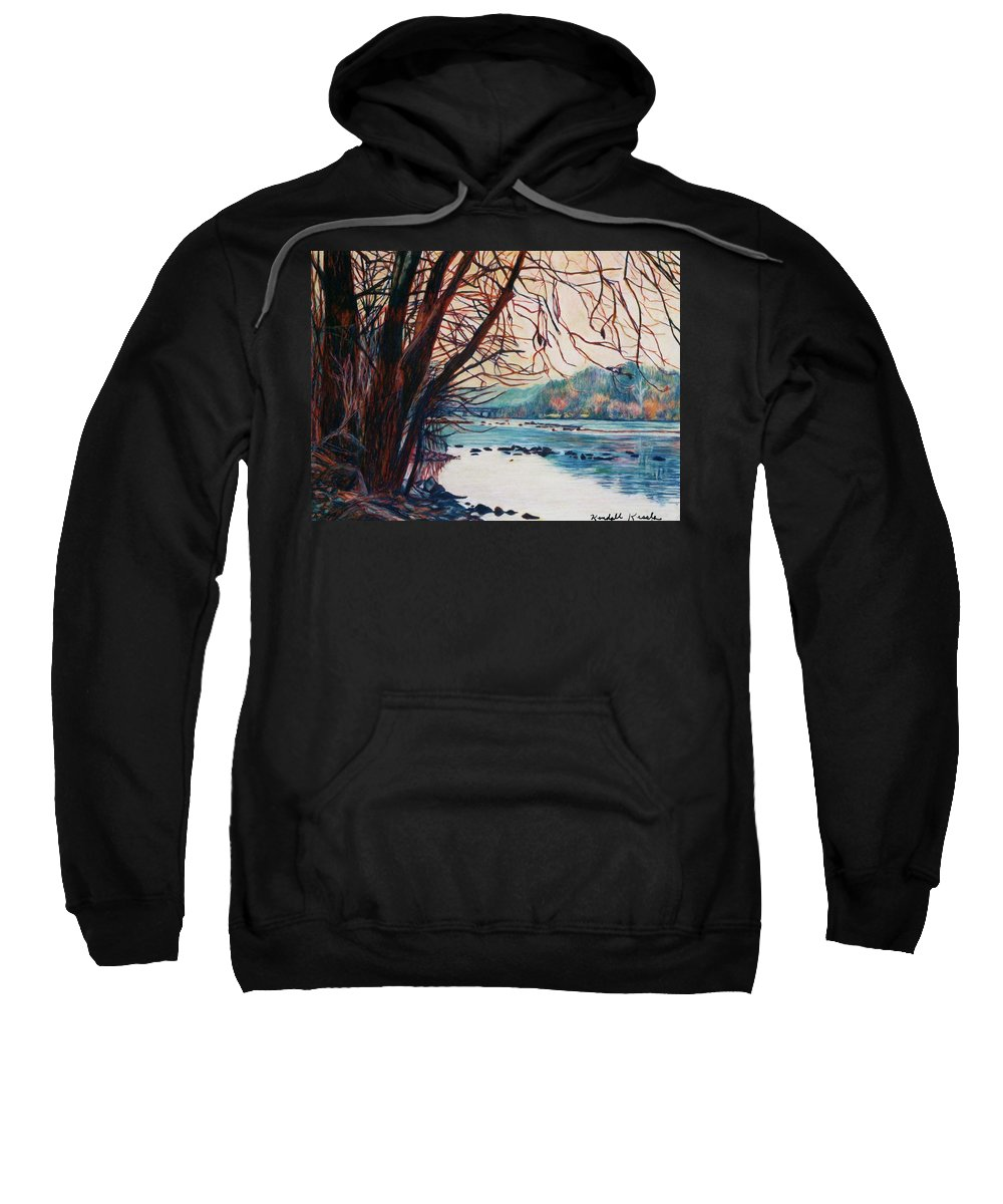 New River Sweatshirt featuring the pastel Fall on the New River by Kendall Kessler