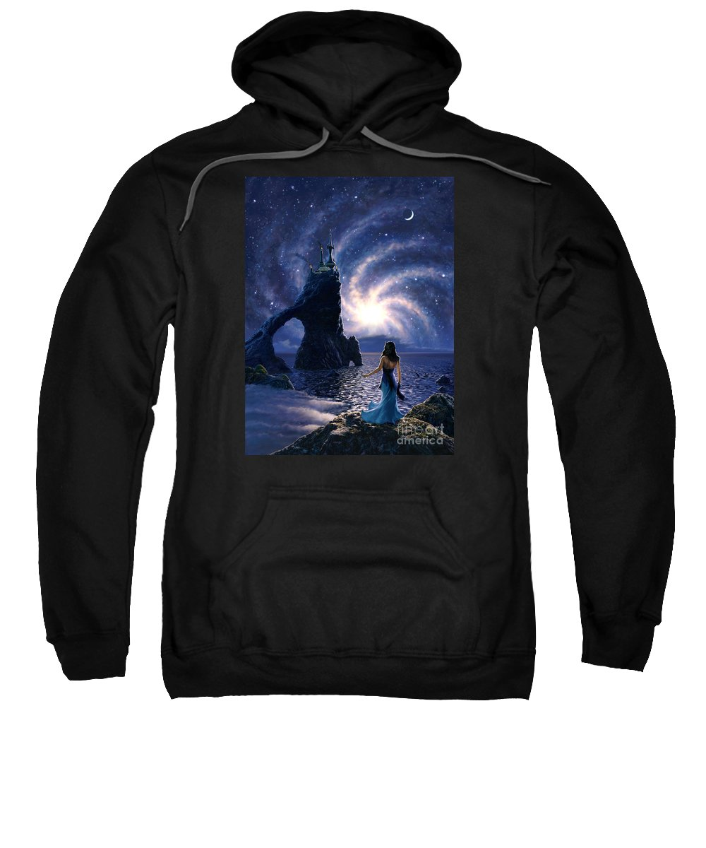Space Sweatshirt featuring the painting Far Synura by Stu Shepherd