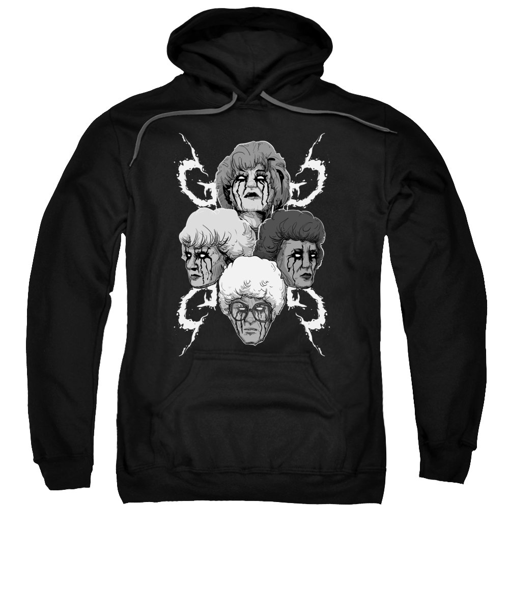 Goth Sweatshirt featuring the drawing Gothic Girls II by Ludwig Van Bacon