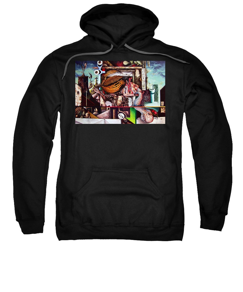 Surrealism Sweatshirt featuring the painting Grey Day At The Factory by Otto Rapp