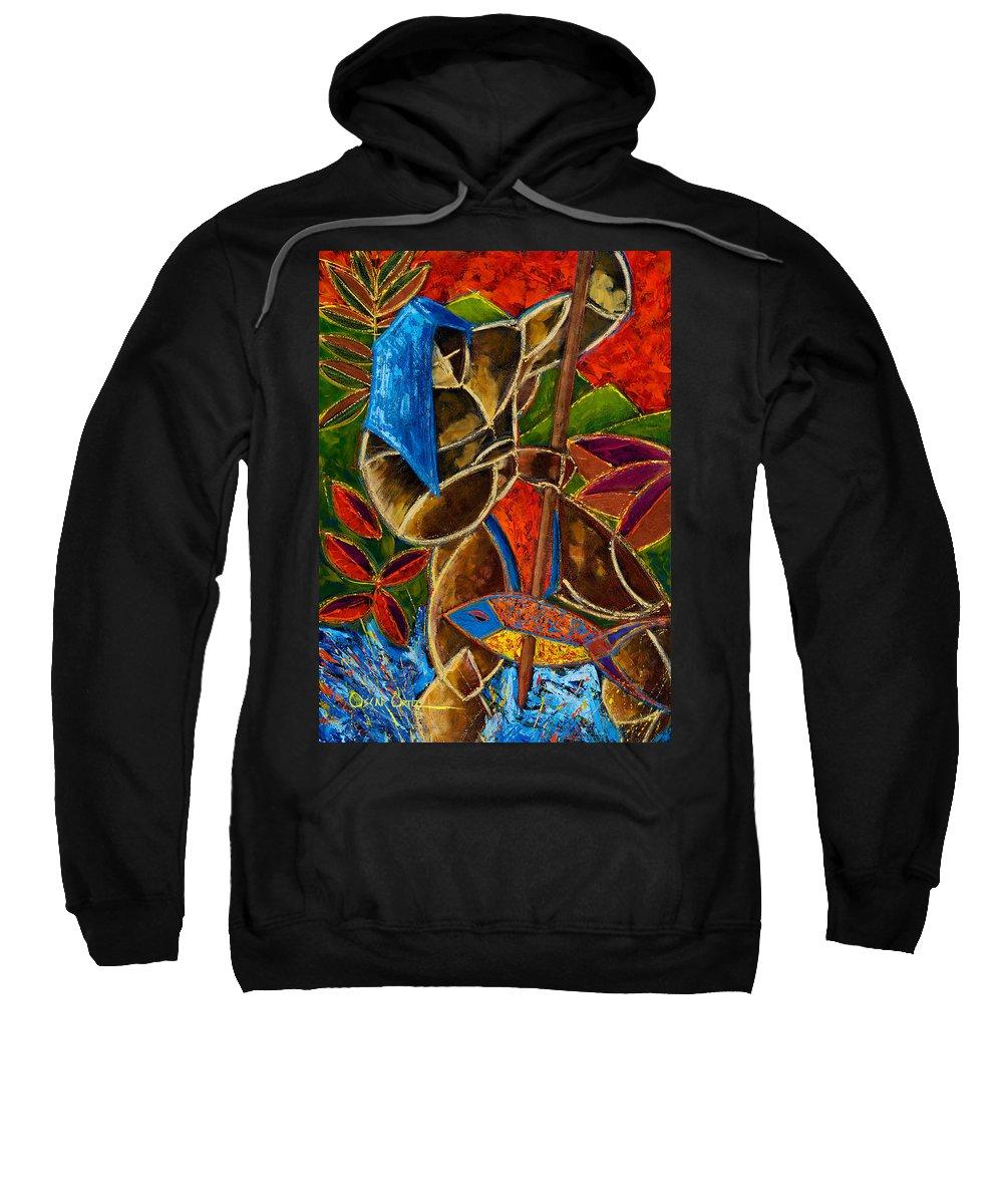 Puerto Rico Sweatshirt featuring the painting Guarani... hombre de familia by Oscar Ortiz