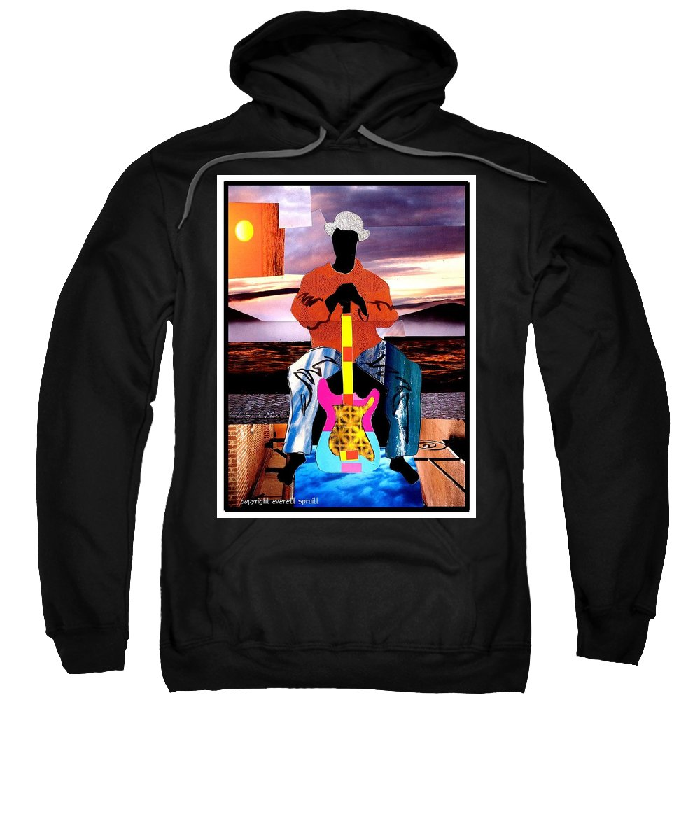 Everett Spruill Sweatshirt featuring the painting Guitar Man by Everett Spruill