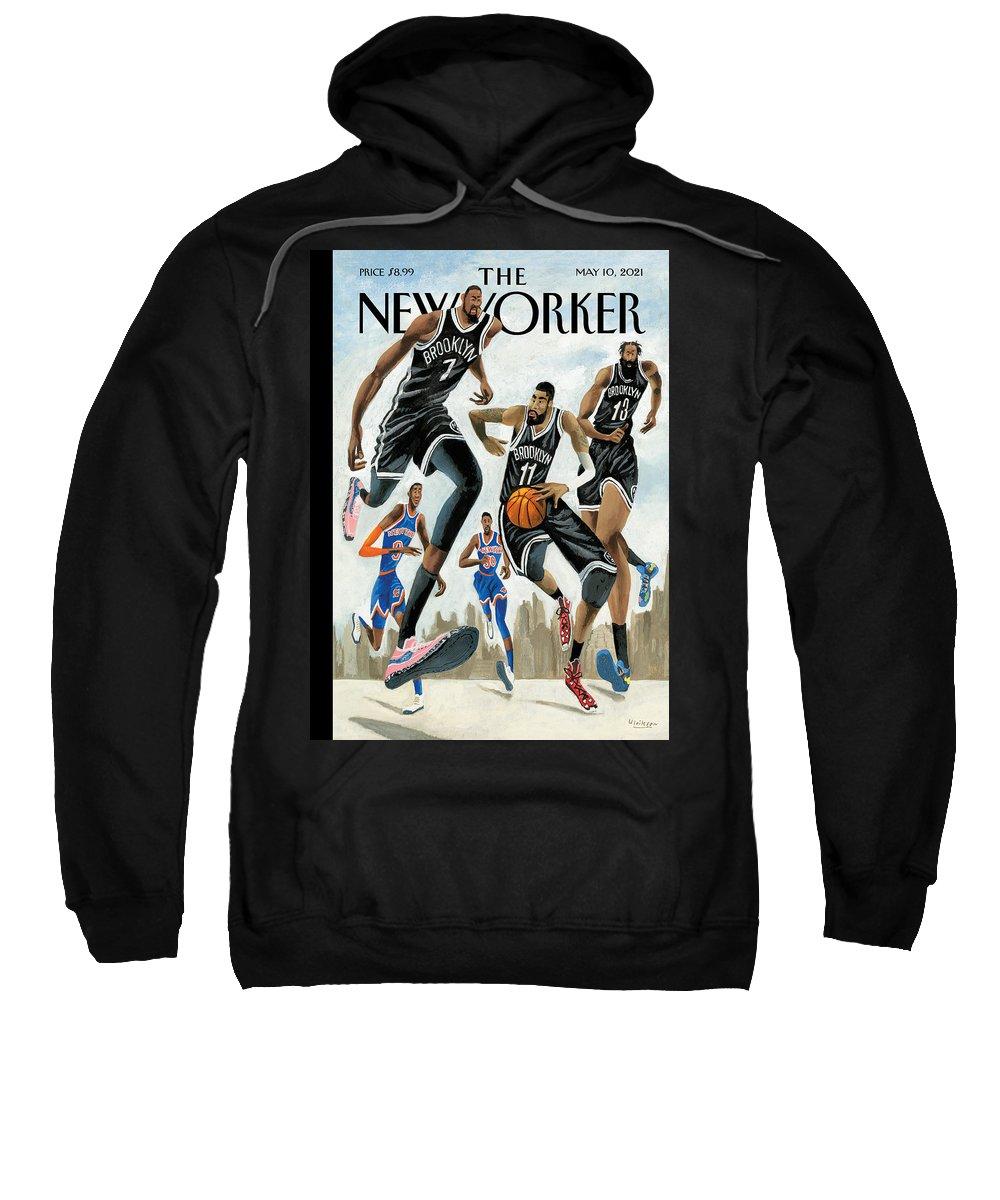 Nyc Sweatshirt featuring the painting Hoop Dreams in New York by Mark Ulriksen