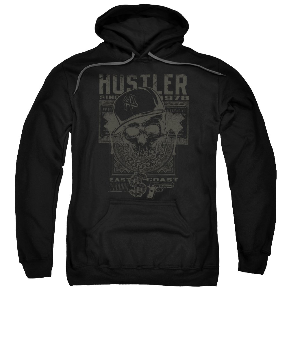 Skull Sweatshirt featuring the digital art Hustler Skull by Jacob Zelazny