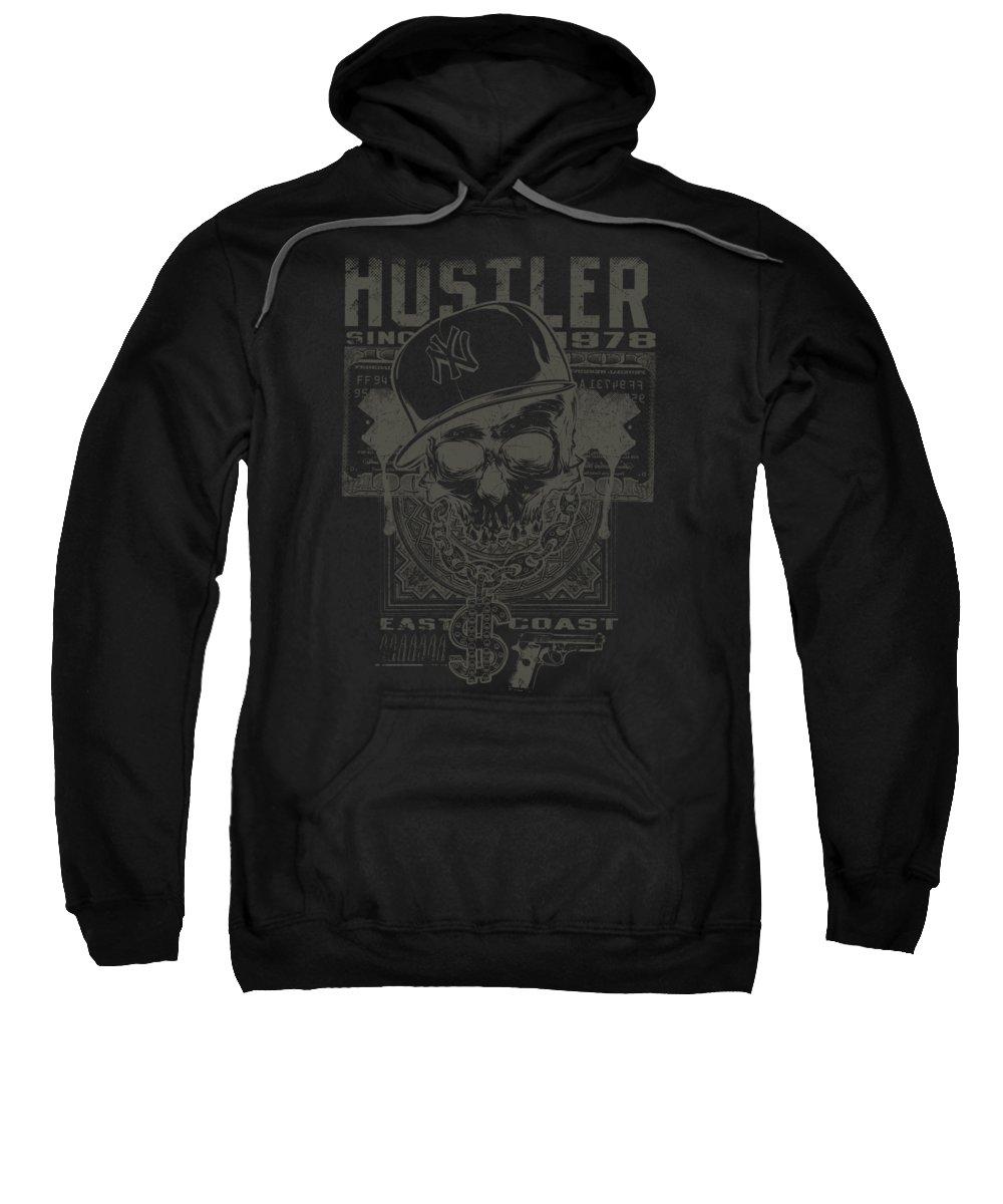 Skull Sweatshirt featuring the digital art Hustler Skull by Passion Loft