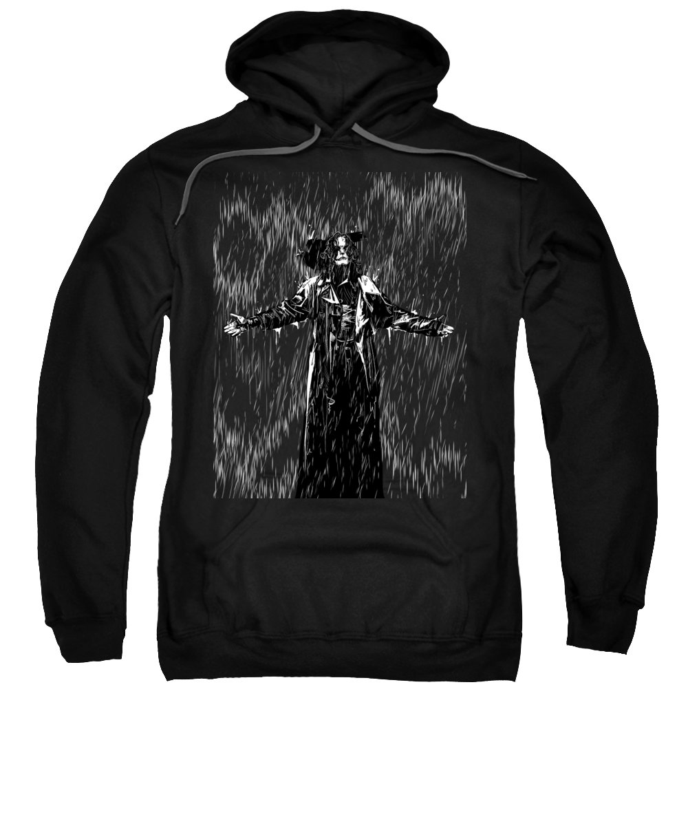 Crow Sweatshirt featuring the drawing It Cant Rain All The Time by Ludwig Van Bacon