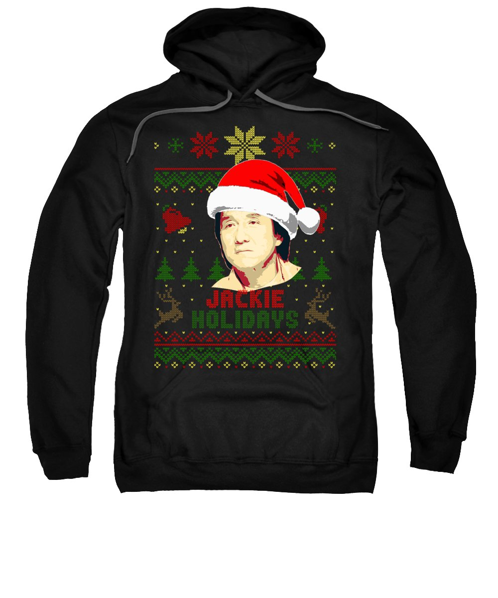 Santa Sweatshirt featuring the digital art Jackie Chan Holidays Christmas by Filip Schpindel